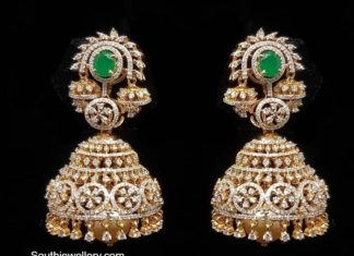 diamond and emerald jhumkis