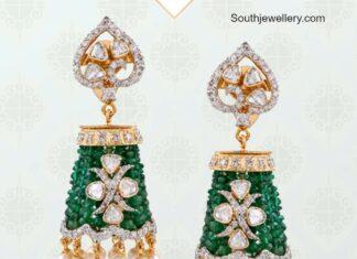 diamond and emerald jhumkis musaddilal