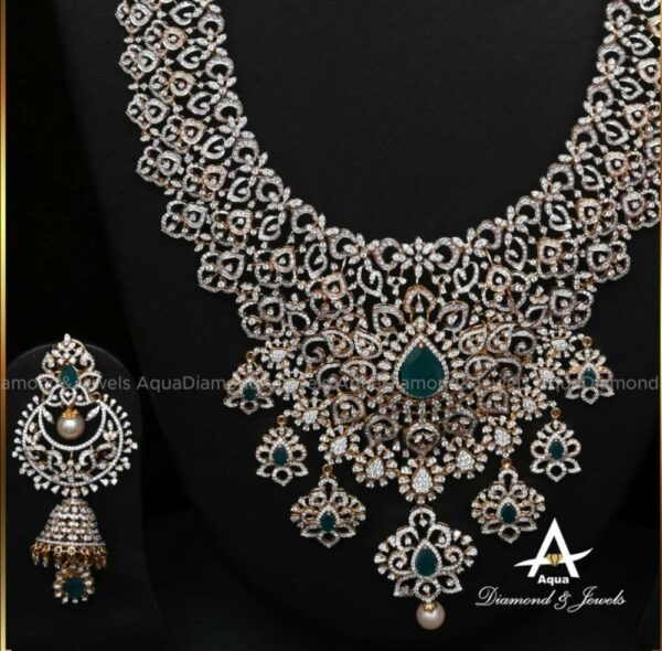 diamond and emerald necklace and jhumkas