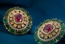 diamond and emerald studs tiraa