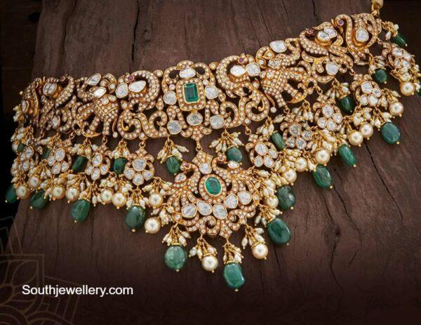 diamond peacock and elephant necklace