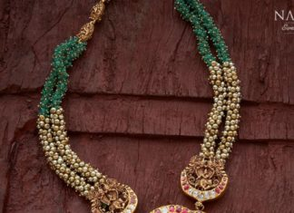 emerald beads and pearl necklace with vishnu pendant