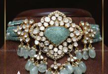emerald beads choker with polki pendant (4)