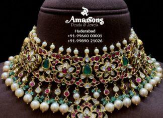 floral kundan necklace amarsons