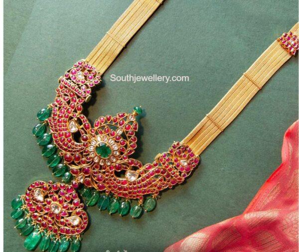 gold haram with kundan pendant (2)