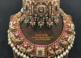 kundan choker and peacock kundan necklace