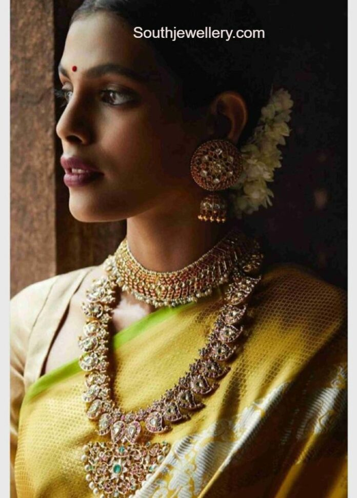 kundan necklace earrings and mango mala