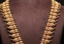 lakshmi mango haram with kundan peacock pendant