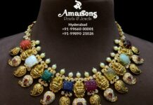 lakshmi necklace with carved navrathan gemstones