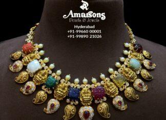 lakshmi necklace with carved navrathan gemstones