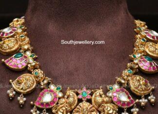mango nakshi necklace with peacock pendant