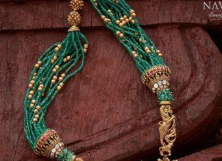 multi strand emerald beads haram with lakshmi pendant (1)
