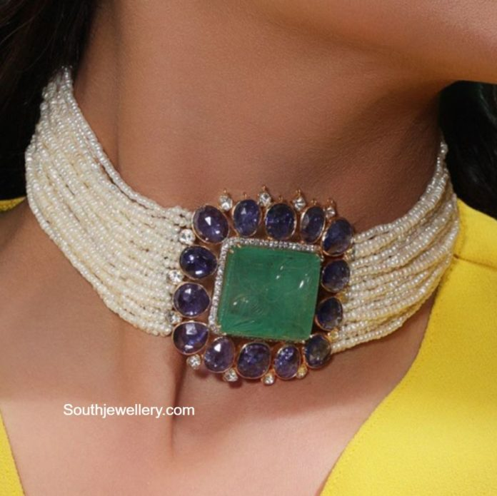 multi strand pearl choker with sapphire and emerald pendant