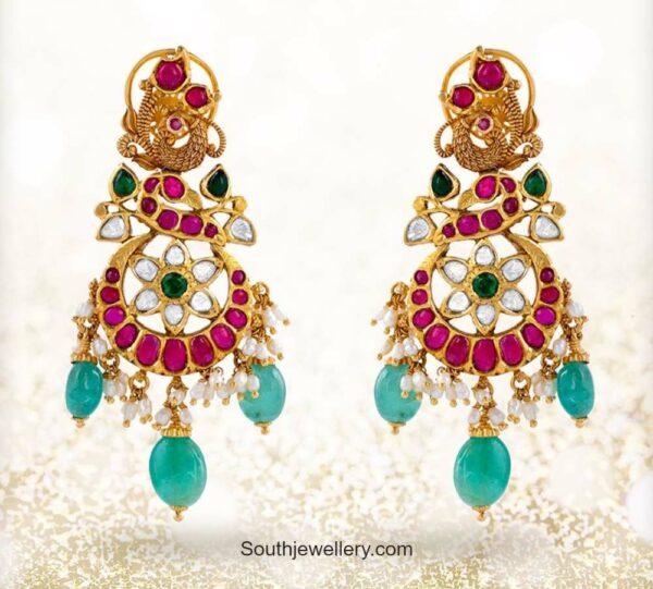 peac ock kundan earrings