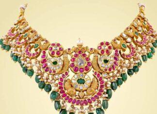 peac ock kundan necklace designs