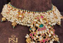 pearl choker with kundan pendant (1)
