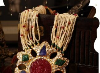 pearl haram with carved gemstone and polki pendant