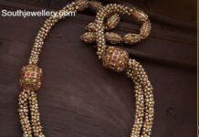 pearl haram with temple kundan pendant