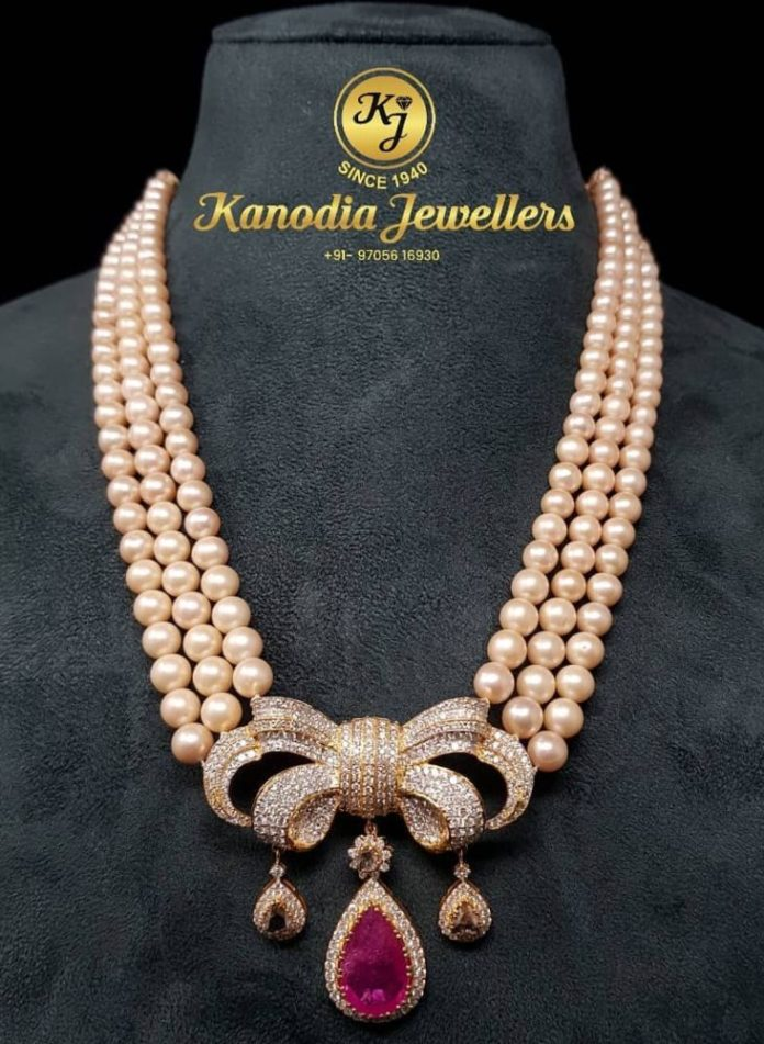 pearl necklace with diamond pendant