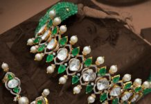 polki and emerald choker and earrings