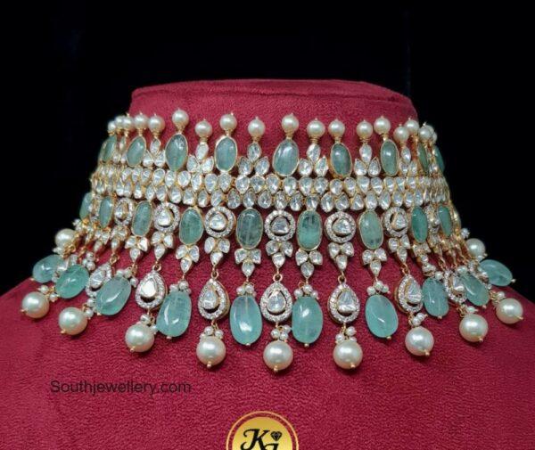 polki diamond and emerald choker kanodia jewellers