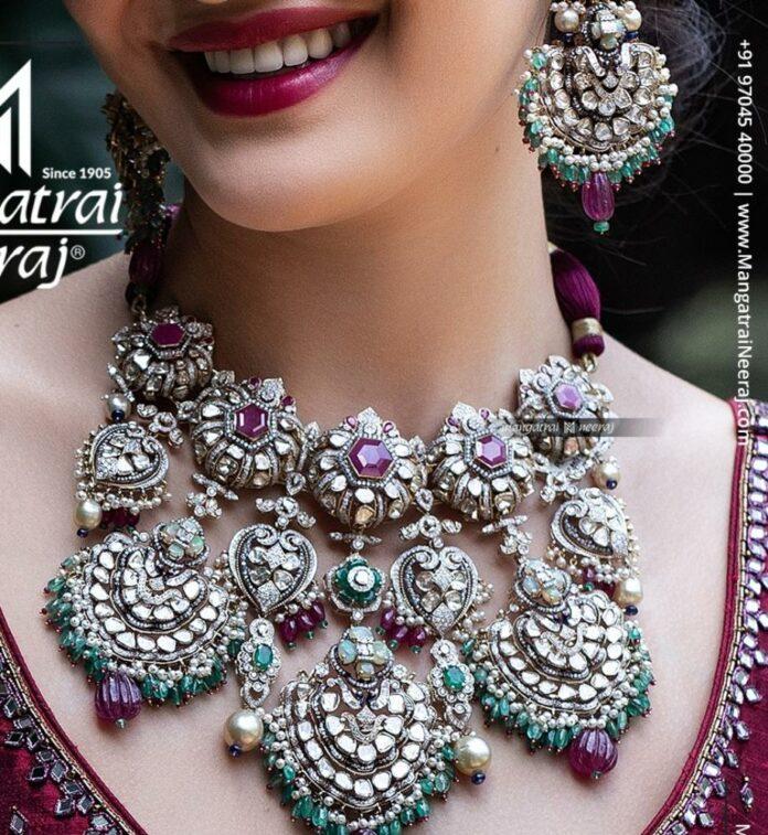 polki diamond choker and earrings set