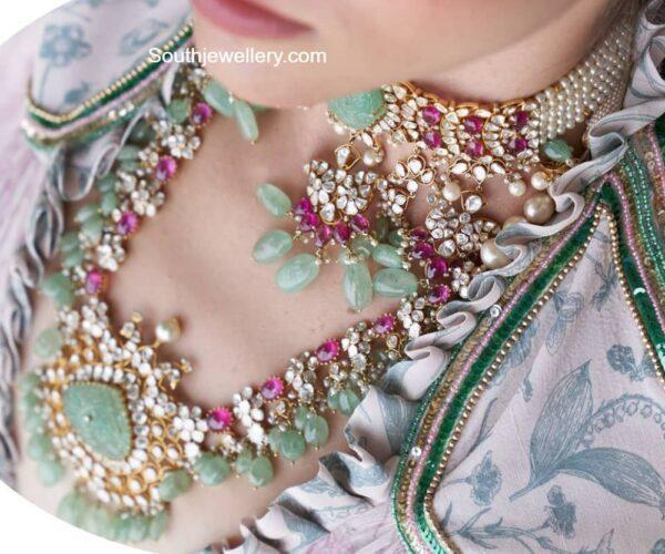 polki diamond necklace and haram akoya jewels