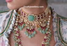 polki diamond necklace and haram by akoya jewels