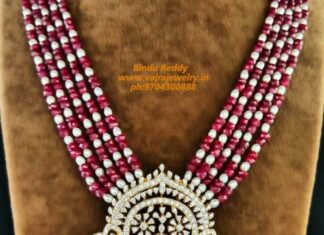 ruby beads and pearl haram with diamond pendant
