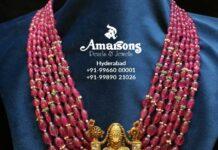 ruby beads haram with balaji pendant