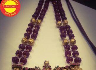 ruby beads haram with lakshmi pendant (1)