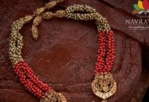 ruby beads haram with lakshmi pendant