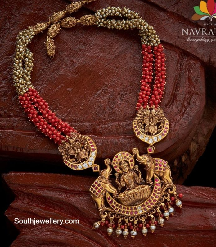 ruby beads haram with lakshmi pendant