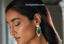 south sea pearl necklace with emerald pendant and earrings