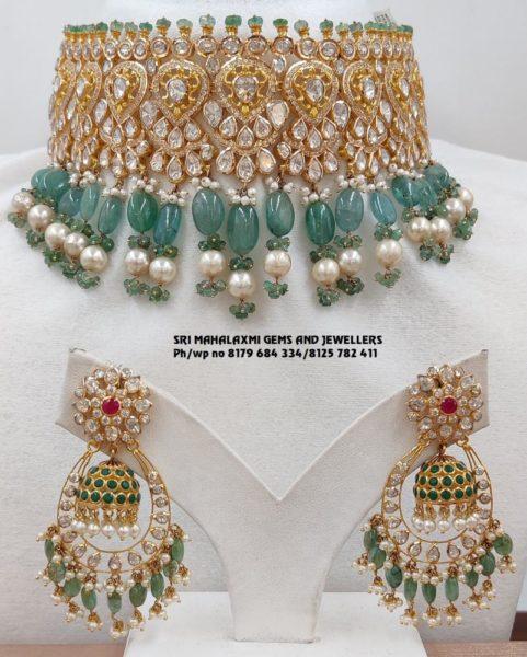 uncut diamond choker and earrings set