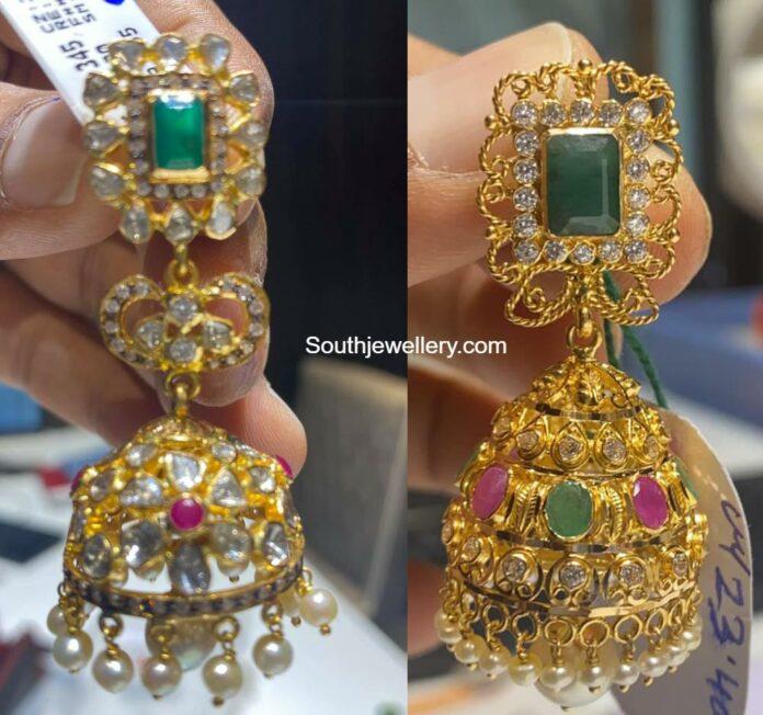 uncut diamond jhumki designs