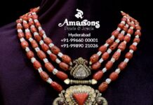 CORAL BEADS NECKLACE WITH POLKI PENDANT