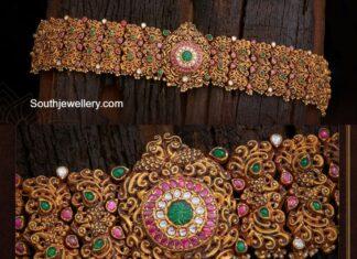 antique gold deep nakshi vaddanam