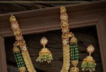 antique gold kundan haram and jhumkas set