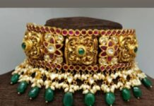 antique gold nakshi kundan choker