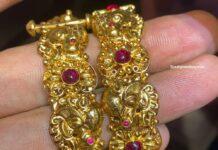 antique gold peacock ankshi bangles