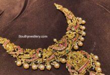 antique gold peacock nakshi necklace (5)