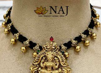 black thread necklace with lakshmi pendant (1)