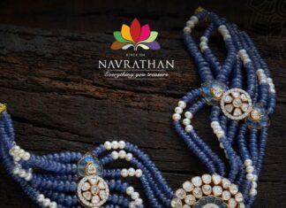 blue beads choker with polki pendant