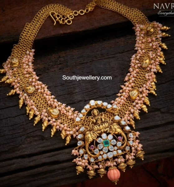 coral necklace with polki lakshmi pendant