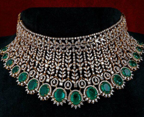 diamond and emerald bridal choker jatin mor