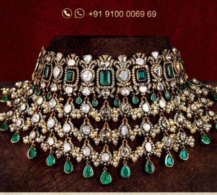 diamond and polki choker jatin mor jewels
