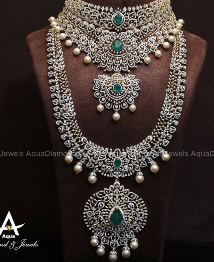 diamond emerald choker and haram