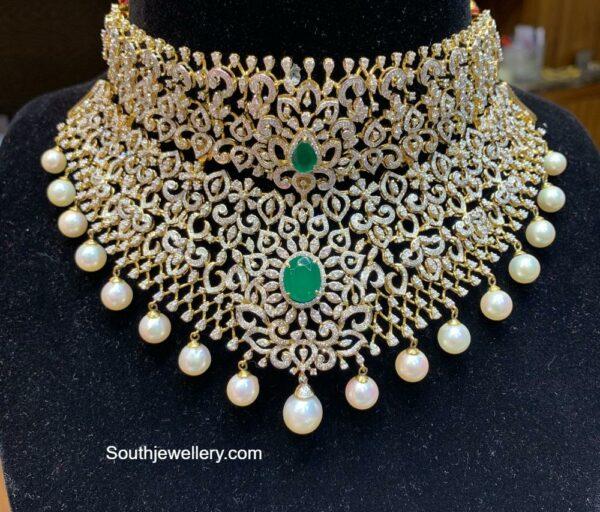 diamond emerald choker tirumala