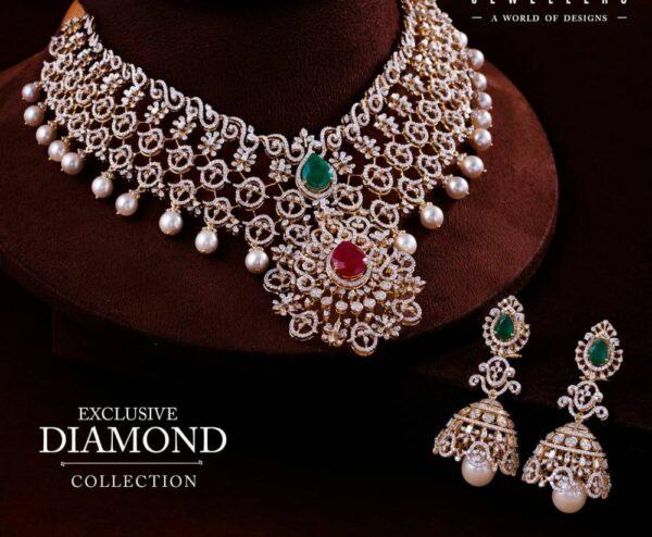 diamond necklace and jhumkas set (1)